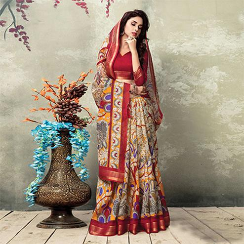 Multicolor And Red Casual Wear Printed Saree