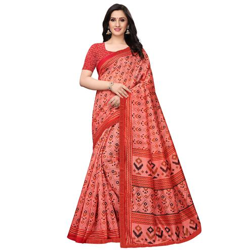 Hypnotic Peach Colored Casual Wear Printed Art Silk Saree