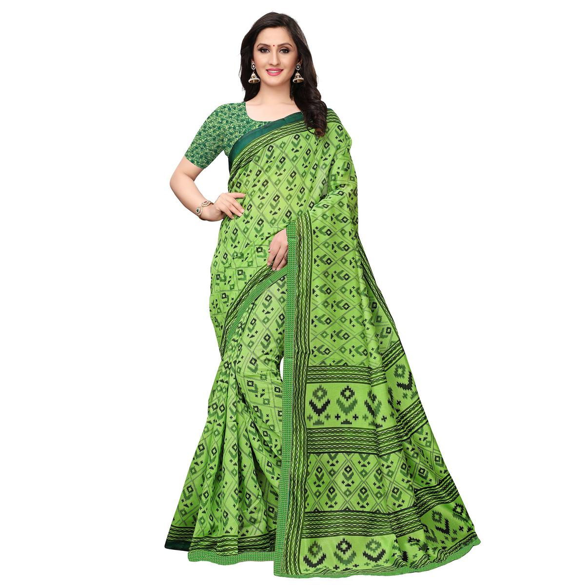 Elegant Light Green Colored Casual Wear Printed Art Silk Saree