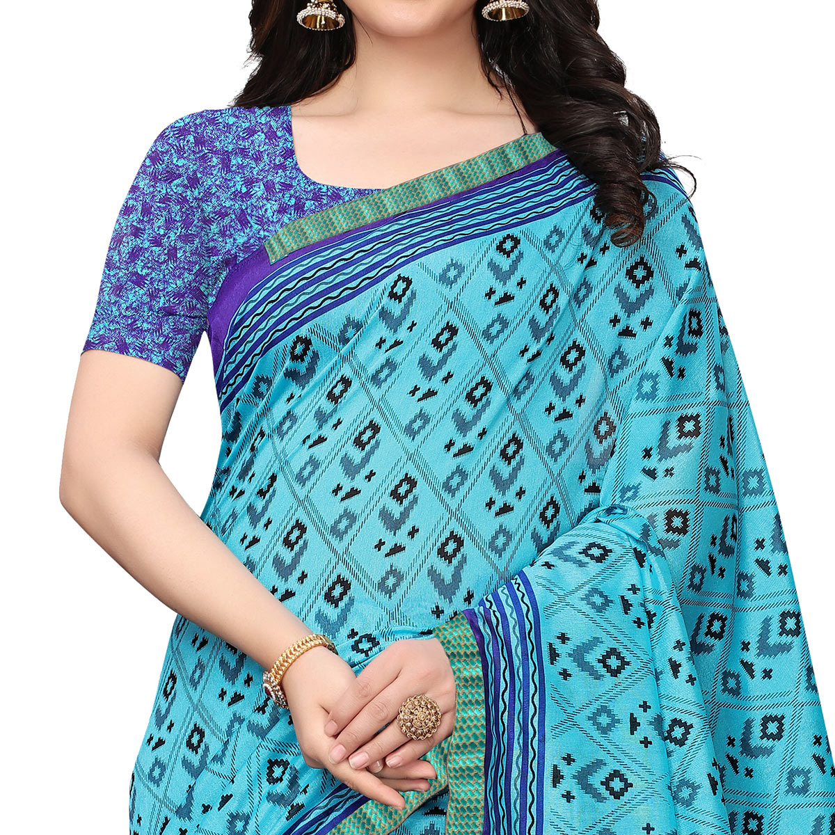 Excellent Sky Blue Colored Casual Wear Printed Art Silk Saree