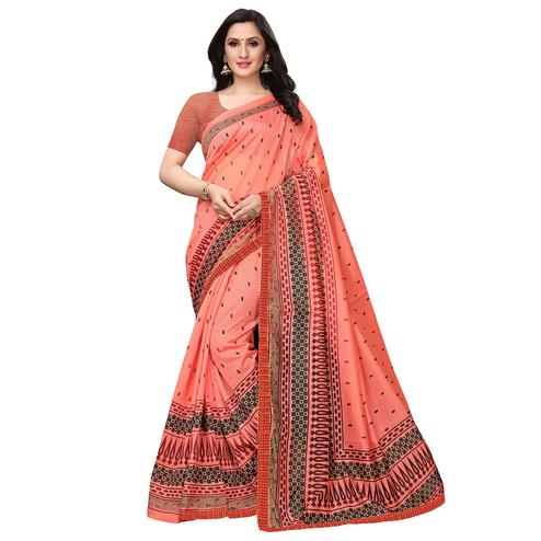 Breathtaking Peach Colored Casual Wear Printed Art Silk Saree