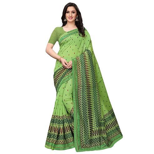 Impressive Light Green Colored Casual Wear Printed Art Silk Saree