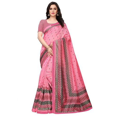 Flamboyant Pink Colored Casual Wear Printed Art Silk Saree
