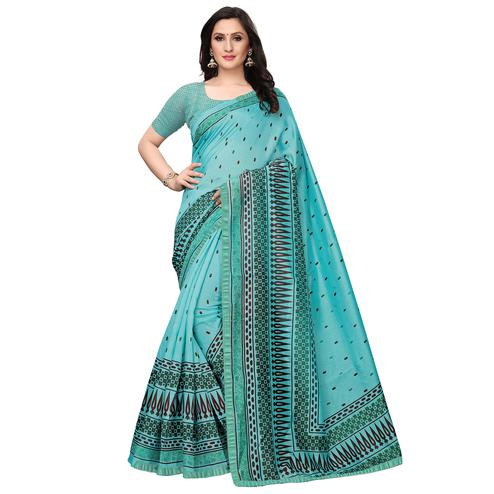 Ethnic Aqua Blue Colored Casual Wear Printed Art Silk Saree
