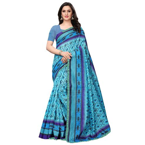 Alluring Sky Blue Colored Casual Wear Printed Art Silk Saree