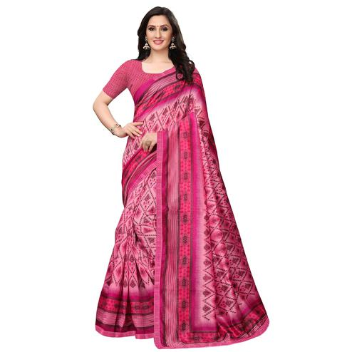 Sensational Pink Colored Casual Wear Printed Art Silk Saree