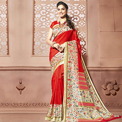 Red - Off White Printed Saree