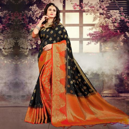 Sophisticated Black-Orange Colored Festive Wear Kanjivaram Style Art Silk Half-Half Saree