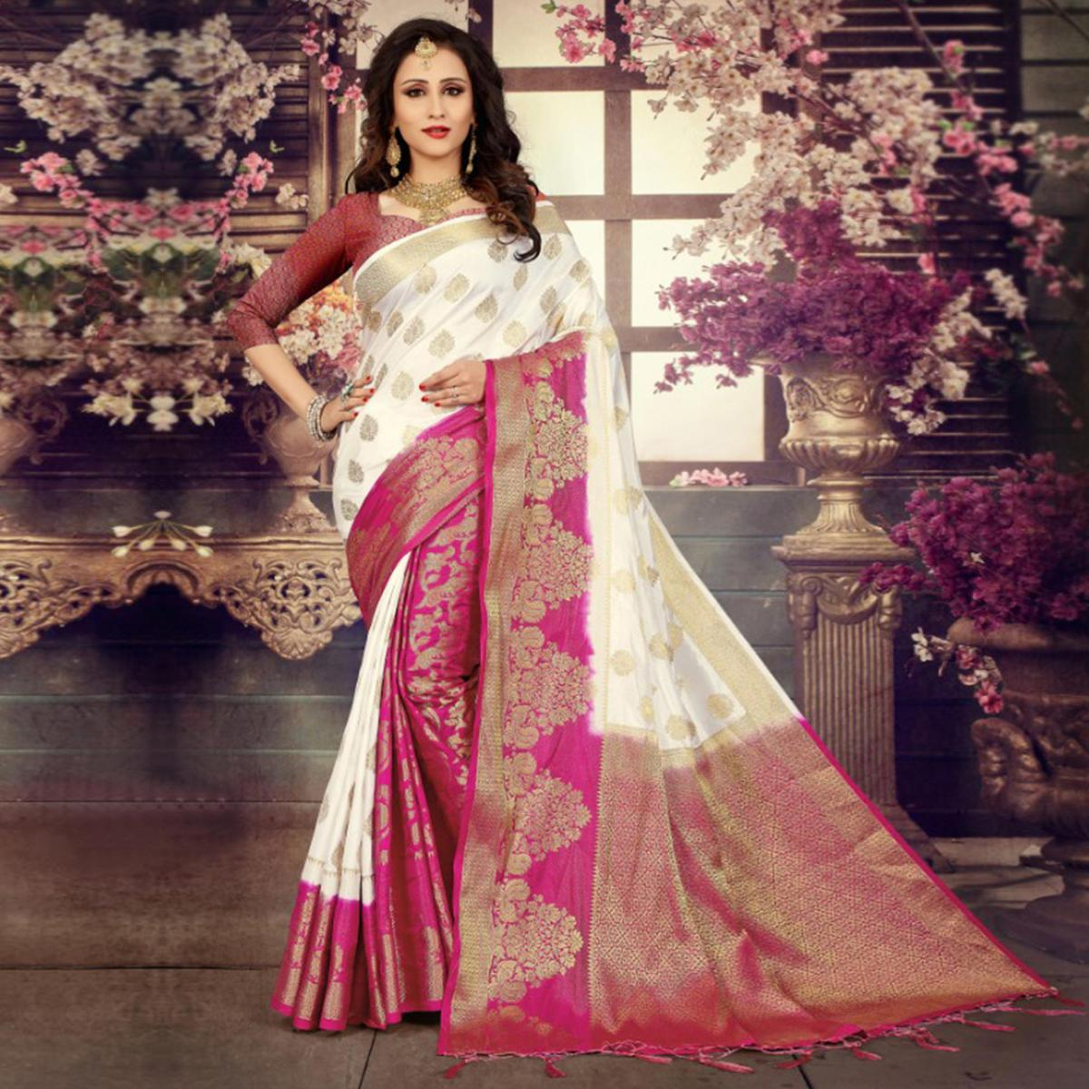 Trendy White-Pink Colored Festive Wear Kanjivaram Style Art Silk Half-Half Saree