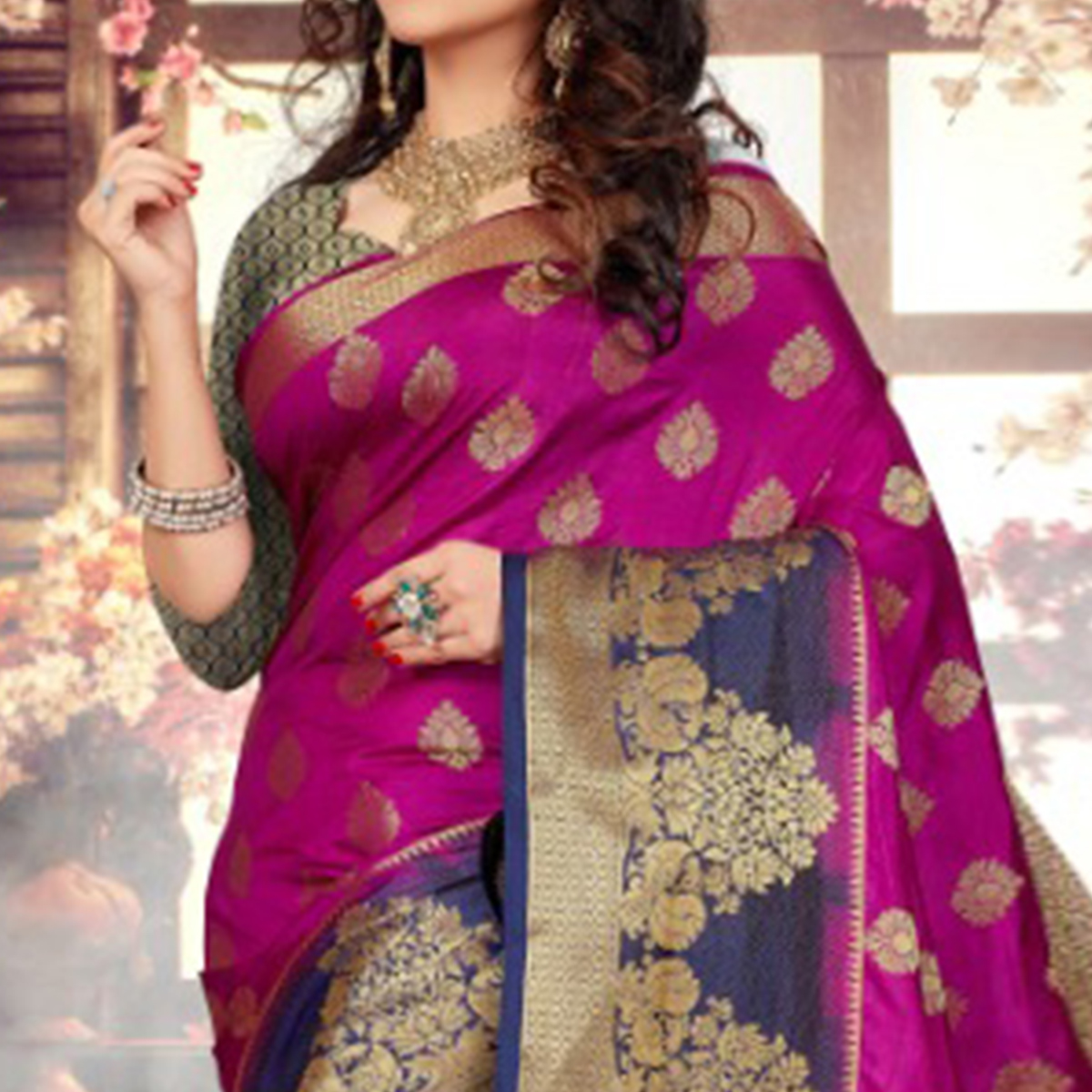 Flattering Pink-Blue Colored Festive Wear Kanjivaram Style Art Silk Half-Half Saree