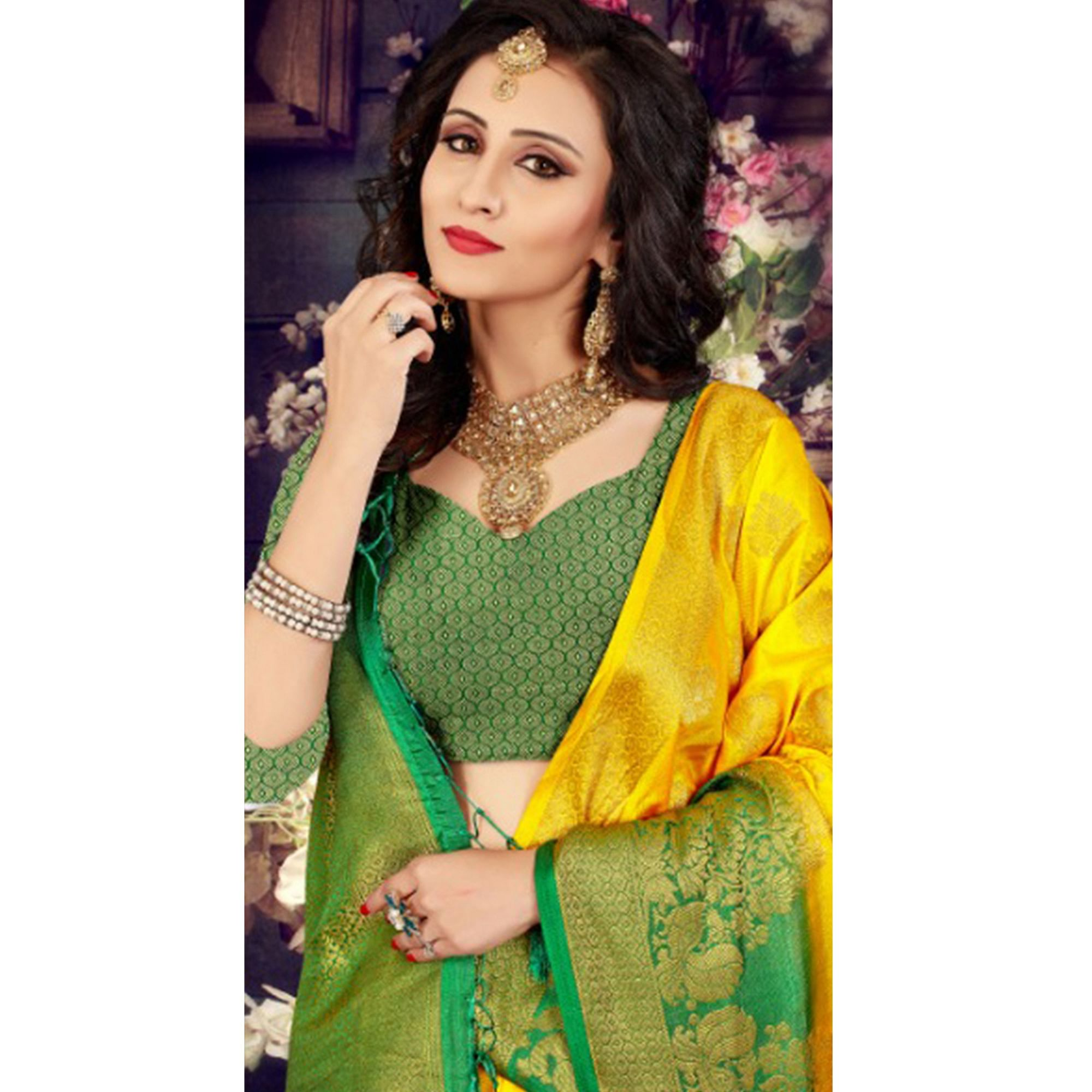 Radiant Yellow-Green Colored Festive Wear Kanjivaram Style Art Silk Half-Half Saree