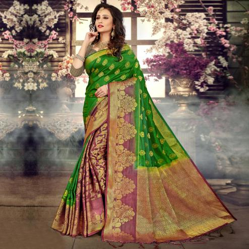 Pleasant Green-Mauve Colored Festive Wear Kanjivaram Style Art Silk Half-Half Saree
