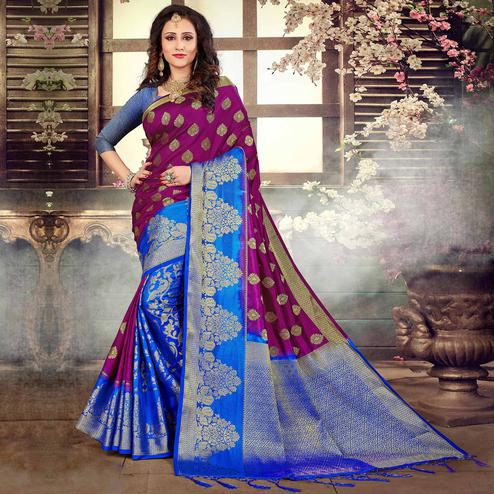 Energetic Violet-Blue Colored Festive Wear Kanjivaram Style Art Silk Half-Half Saree