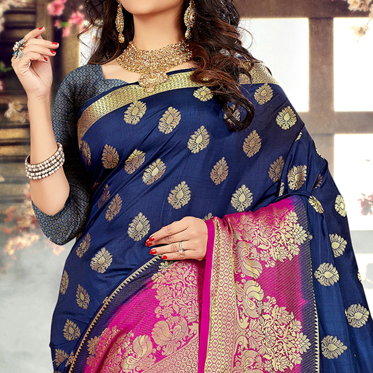 Glowing Navy Blue-Pink Colored Festive Wear Kanjivaram Style Art Silk Half-Half Saree