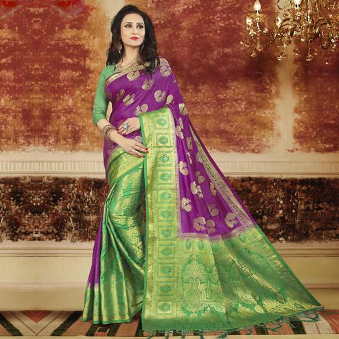 Radiant Purple-Green Colored Festive Wear Weaving Art Silk Saree