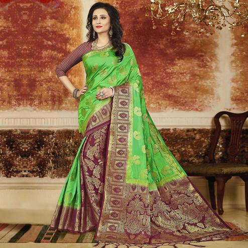 Pleasant Green-Wine Colored Festive Wear Weaving Art Silk Saree