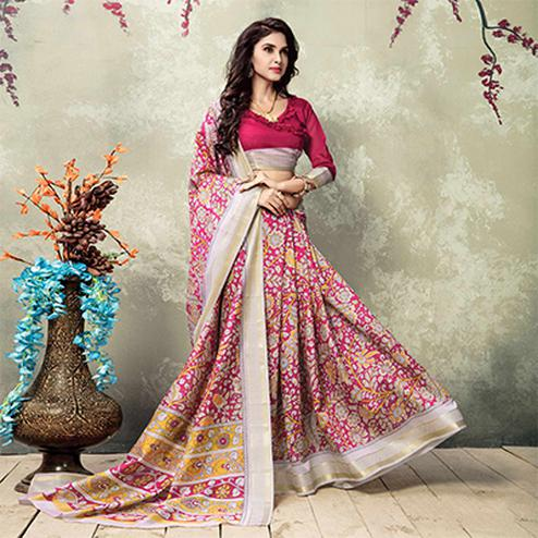 Pink Floral Printed Casula Wear Silk Saree