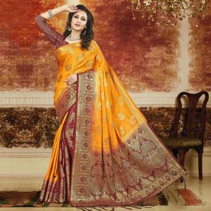 Opulent Mustard Yellow-Maroon Colored Festive Wear Weaving Art Silk Saree