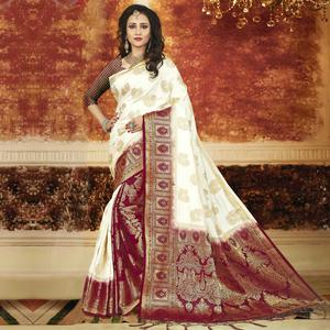 Energetic White-Maroon Colored Festive Wear Weaving Art Silk Saree