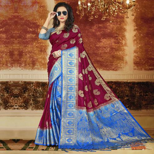 Glowing Deep Magenta Pink-Blue Colored Festive Wear Weaving Art Silk Saree