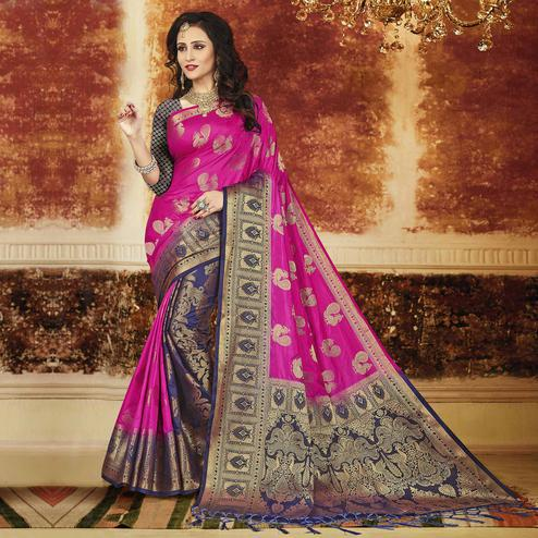 Exceptional Rani Pink-Navy Blue Colored Festive Wear Weaving Art Silk Saree