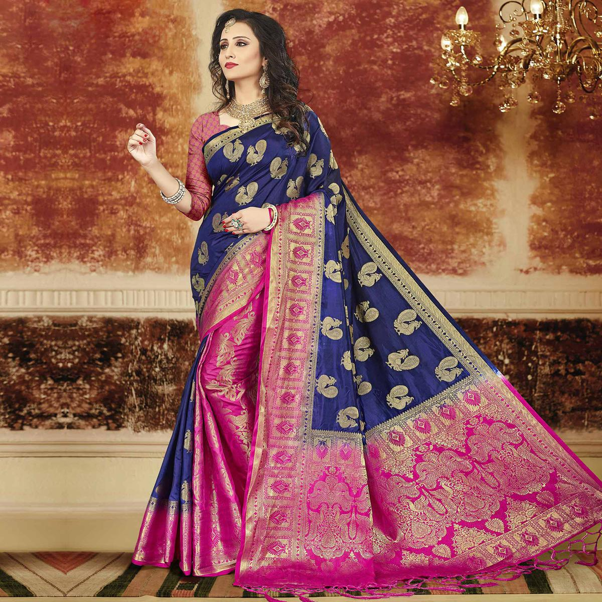 Gleaming Navy Blue-Pink Colored Festive Wear Weaving Art Silk Saree