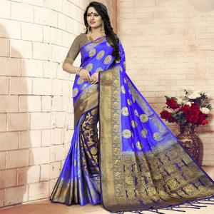 Gleaming Blue - Violet Colored Festive Wear Woven Art Silk Saree