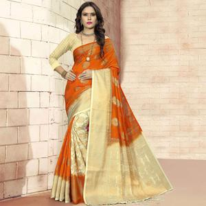 Mesmeric Orange - Cream Colored Festive Wear Woven Art Silk Saree