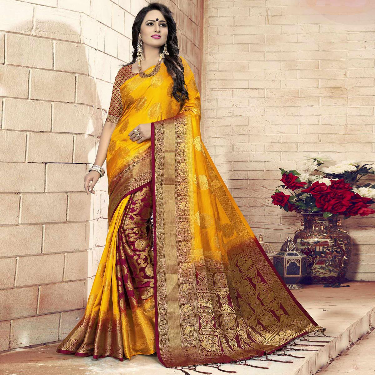 Unique Mustard Yellow - Maroon Colored Festive Wear Woven Art Silk Saree