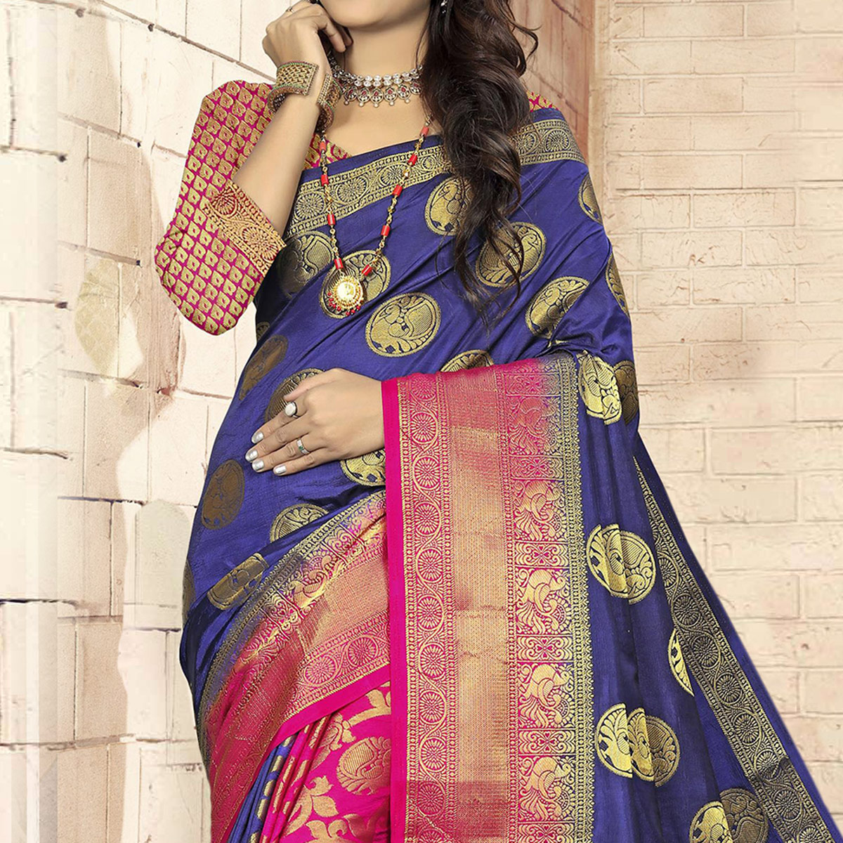 Demanding Navy Blue - Pink Colored Festive Wear Woven Art Silk Saree