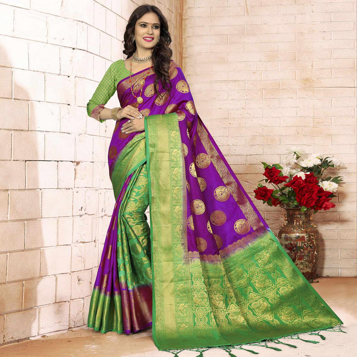 Refreshing Purple - Green Colored Festive Wear Woven Art Silk Saree