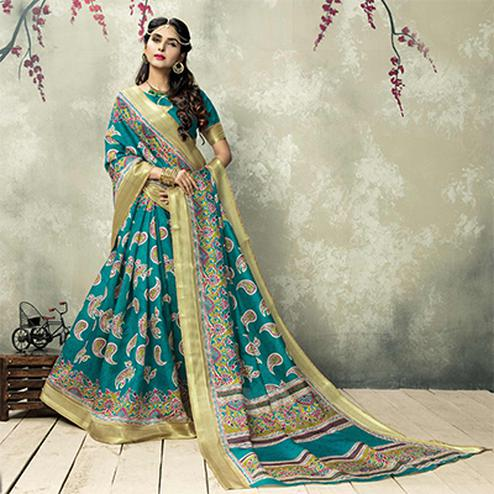Blue Turquoise Color Printed Silk Saree