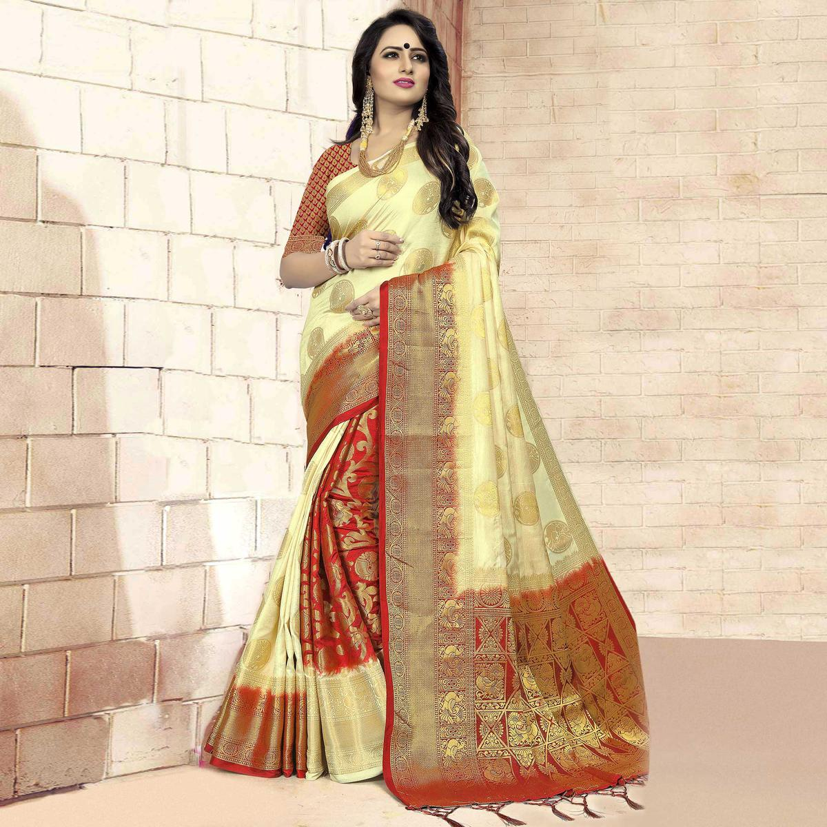 Elegant Cream - Red Colored Festive Wear Woven Art Silk Saree