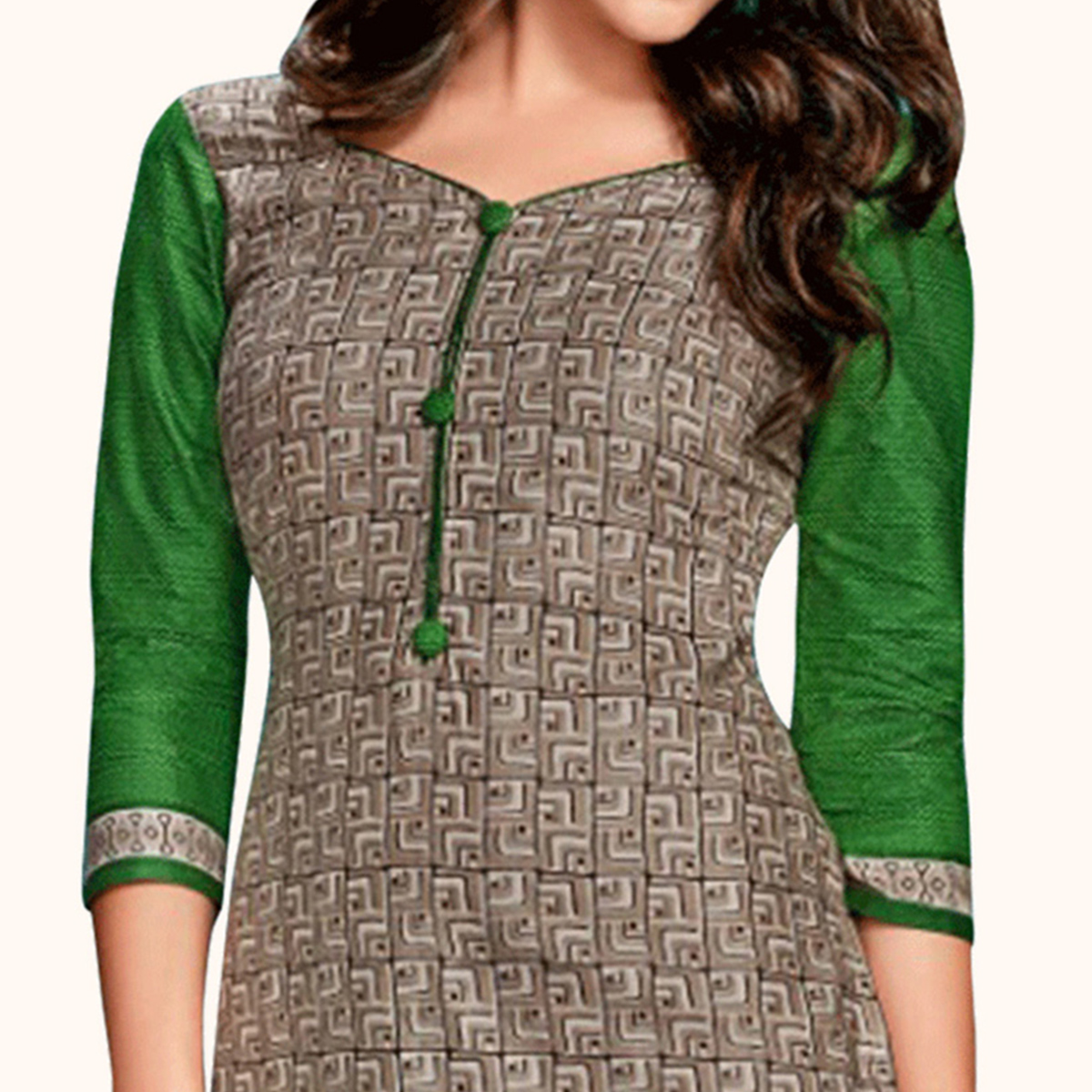 Desirable Grey Colored Casual Wear Printed Jetpur Cotton Kurti