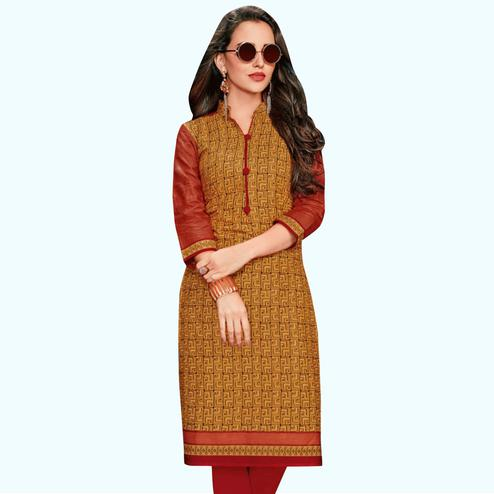 Sophisticated Rust Orange Colored Casual Wear Printed Jetpur Cotton Kurti