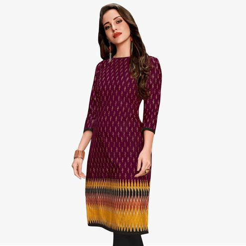 Trendy Dark Violet Colored Casual Wear Printed Jetpur Cotton Kurti
