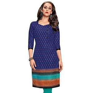 Flattering Blue Colored Casual Wear Printed Jetpur Cotton Kurti