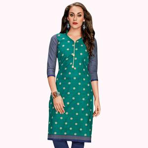 Radiant Turquoise Green Colored Casual Wear Printed Jetpur Cotton Kurti