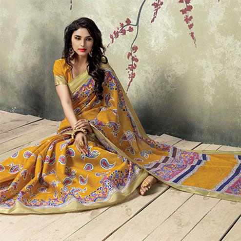 Mustard Color Printed Silk Saree