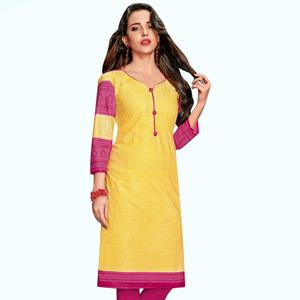 Energetic Yellow Colored Casual Wear Printed Jetpur Cotton Kurti