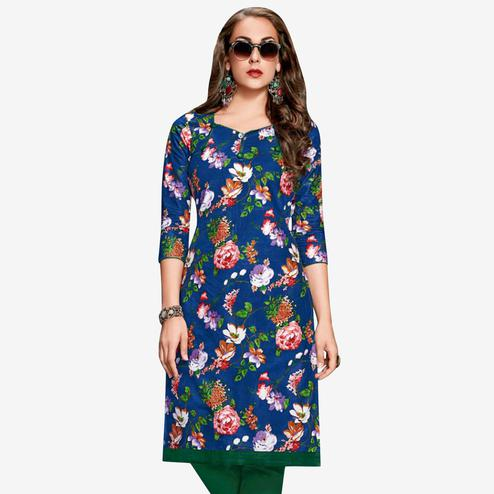 Exceptional Blue Colored Casual Wear Printed Jetpur Cotton Kurti
