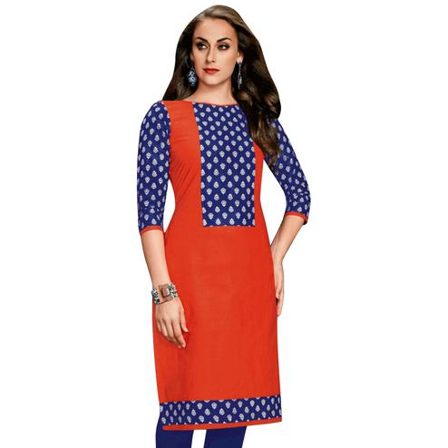 Demanding Orange Colored Casual Wear Printed Jetpur Cotton Kurti