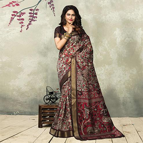 Brown - Maroon Printed Casual Wear Saree