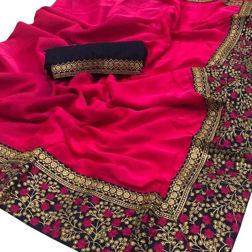 Sensational Dark Pink Colored Party Wear Embroidered Zoya Silk Saree