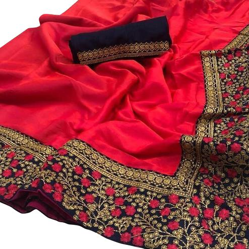 Dazzling Red Colored Party Wear Embroidered Zoya Silk Saree