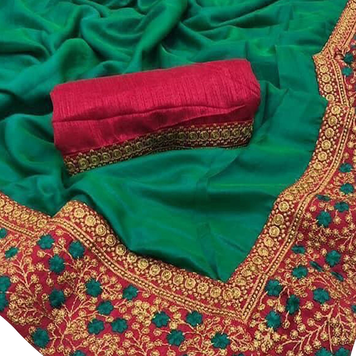 Flirty Green Colored Party Wear Embroidered Zoya Silk Saree