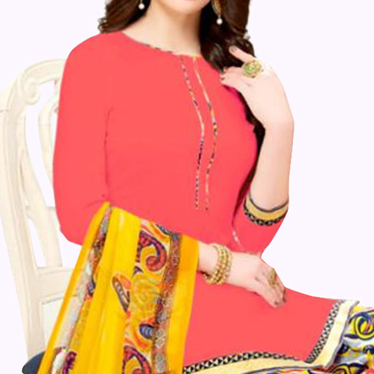 Staring Pink Colored Casual Wear Printed Crepe Patiala Suit