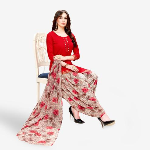 Unique Red Colored Casual Wear Printed Crepe Patiala Suit