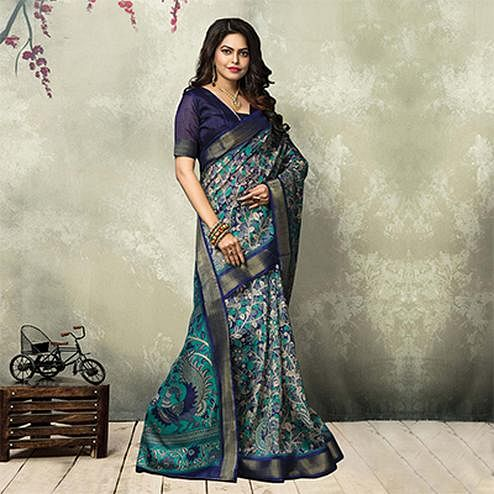 Shaded Blue Casual Wear Printed Saree