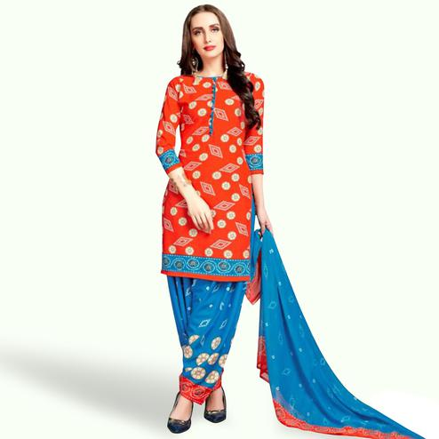 Refreshing Orange Colored Casual Wear Printed Crepe Patiala Suit